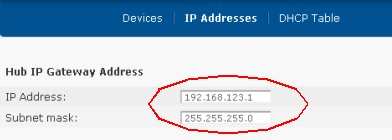 Changing Home Hub IP address and subnet