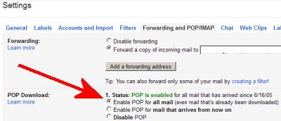 Gmail POP setting