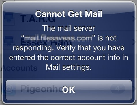 iPhone Email Error Message