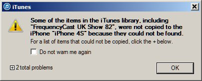iTunes Missing Files Error Message