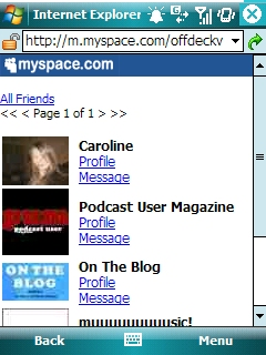 MySpace on Pocket PC