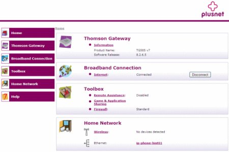 Thomson 585 Wireless Broadband Router Interface Screen