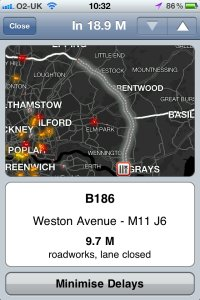 TomTom Live Traffic Delays on iPhone