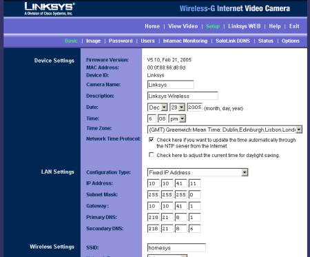 LinkSys Wireless-G camera admin screen